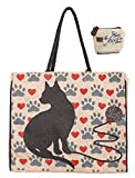 Mona B Cat Love Burlap Tote Bag B-242 with Coin Purse