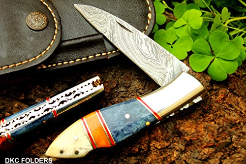 DKC-58 BLUE JAY Damascus Folding Pocket Knife 4.5 Folded 8 Long 3.24 Blade 7.5oz High Class Looks Incredible Feels Great In Your Hand And Pocket Ha…