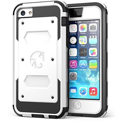 iPhone 5C Case, i-Blason Armorbox for Apple iPhone 5C Dual Layer Hybrid Full-body Protective Case with Front Cover and Built-in Screen Protector and Impact Resistant Bumpers for iPhone 5C (White) (Best Features Of Iphone 5c)