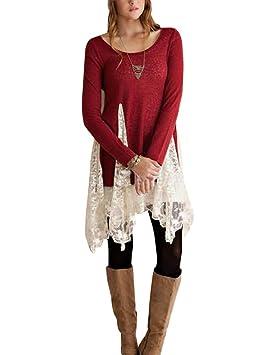 Mujer Vintage Vestido De Fiesta Mangas Largas Color Sólido Cuello Rojoondo Estilo De Encaje Suelto Tops