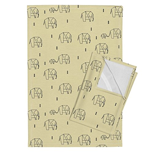 Roostery Elephants Ele Family Pale Yellow Baby Yellow Geometric Elephants Sunny Afternoon Geometric Animals Tea Towels Elephants - Pale Yellow by Sunny Afternoon Set of 2 Linen Cotton Tea Towels by Roostery