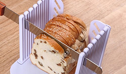 UChic 1PCS 16x15x14.7CM/6.4''x6''x5.88'' Foldable Adjustable Bread Toast Slicer Bagel Slicer Loaf Sandwich Bread Slicer Toast Slice Cutter Mold