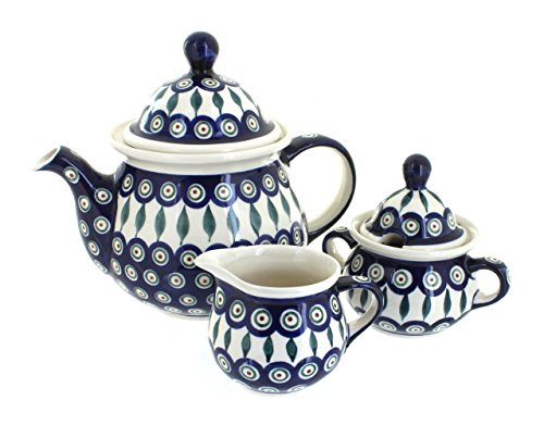 Polish Pottery Peacock Three Piece Tea Set