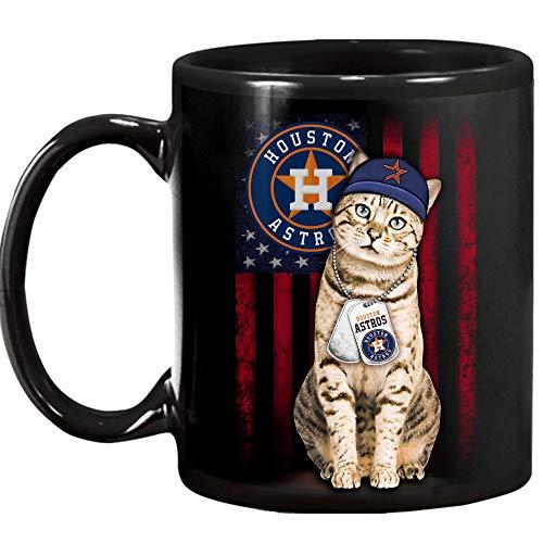 (Houston Astros mug - cat mug - 11 oz. Ceramic Mug - Unique Present for Men & Women, Him or Her - Best Office Cup Birthday Gag Gift for Coworkers, Mom, Dad, Kids, Son, Daughter, Husband, Wife)