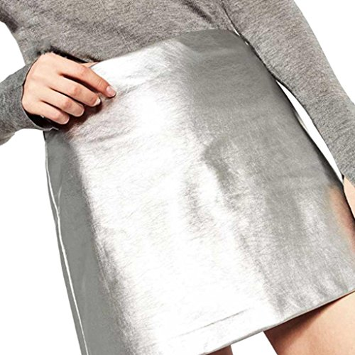 Wintialy Winter New Korean Temperament_Bright-Line_ Skirt Thin Waist Black Skirt PU Leather Skirt Skirts Skirt Women Girl (Sliver, S)