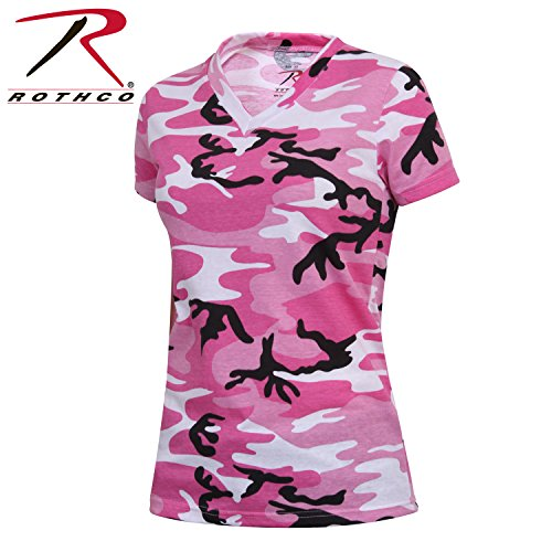 - Rothco Women's Long Length V-Neck T-Shirt, Pink Camo, Large
