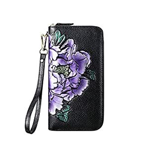 Pusaman The New Women's Wallet, Long Section of The Leather Zipper Wallet, Ethnic Style Peony Flower Embellishment (Color : Purple, Size : 19 * 10 * 2.5CM)