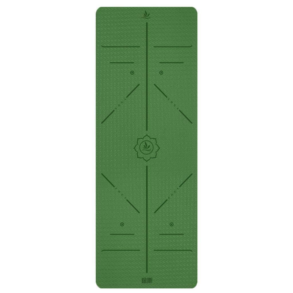 多機能ヨガマット6mm厚TPE上品なヨガのフィットネス体位ラインヒートデザインノンスリップ粘性体操に適したエクササイズジムの床の練習キャンプ有酸素ストレッチ腹筋ピラティス (色 : D) B07R1TMT8F E E
