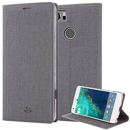 Google Pixel 2 XL Case, PU Leather Slim Flip Wallet Card Slots Cover Kickstand Feature and TPU Bumper Full Body Protection for Pixel 2 XL (Gary) (2 Leather Case)