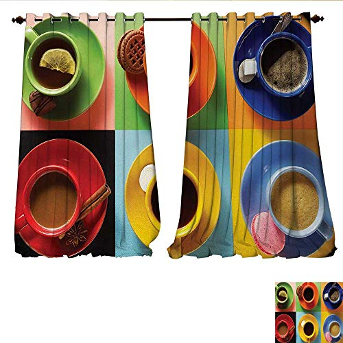 Candle Cup Blend Coffee Mini - Blackout Window Curtain Cups of Coffee Tea Hot Chocolate on Colorful Background with Tasty Deserts Biscuits Customized Curtains W108 x L108 Multicolor
