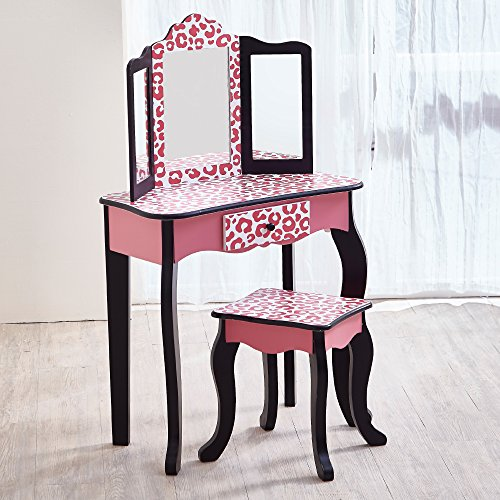 (Teamson Kids - Fashion Prints Girls Vanity Table and Stool Set with Mirror - Leopard (Pink/)