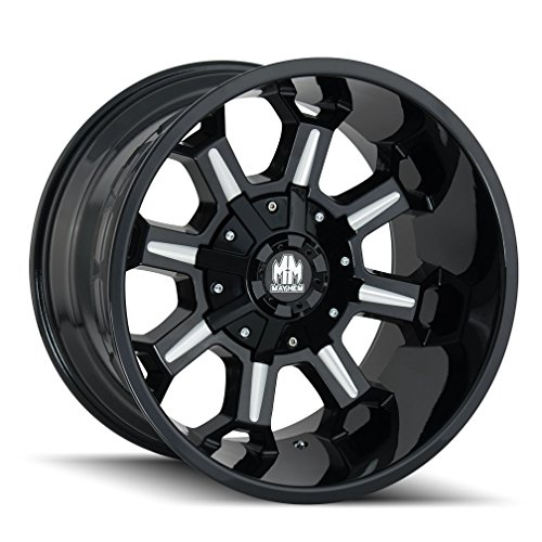 Mayhem COMBAT Gloss Black/Milled Spokes Wheel with Painted Finish (20×9″/8×165.1mm, 18mm Offset)