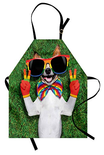 Ambesonne Pride Apron, Funny Face Gay Dog Lying on Green Grass with Peace Signs and Giant Sunglasses Humor, Unisex Kitchen Bib Apron with Adjustable Neck for Cooking Baking Gardening, (Peace Apron)