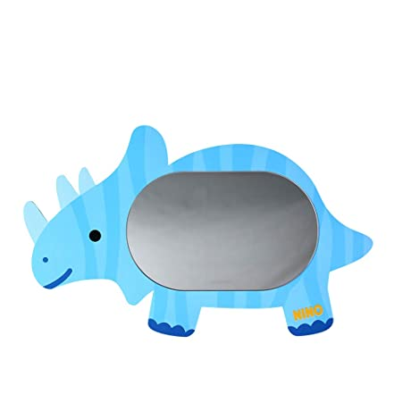 Antique Alive Dinosaur Triceratops Safe EVA Unbreakable Acrylic Kids Boy Girl Baby Children Room Bathroom Kindergarten Wall Home Decor Cute Mirror Board