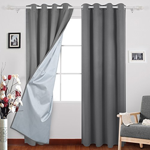 Deconovo Blackout Curtains Pair Grommet Curtains with Backside Silver for Baby Bedroom 52W x 84L Inch Light Grey 2 Panels