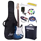 Full Size Blue Burst Electric Guitar with Amp, Case and Accessories Pack Beginner Starter Packag
