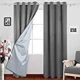 Deconovo Room Darkening Grommet Thermal Insulated Blackout Curtains with Backside Silver for Baby's Bedroom, 52x95 Inch, Light Grey, 1 Pair