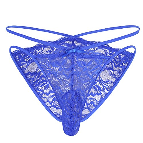 YiZYiF Men's Embroidery Lace Strappy Criss Cross Briefs Sissy Pouch Xdress Panties Blue (Criss Cross Embroidery)