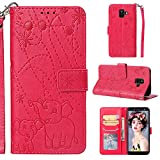 Voanice Galaxy A6 Wallet Case, Galaxy A6 2018 Case,PU Leather Wallet with Card Slot Holder and Kickstand Flip Cute Cover Shockproof Magnetic Wrist Strap Protective for Samsung Galaxy A6 2018 -Hot Pink