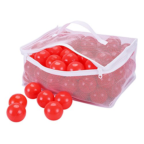 Pack of 100 PlayMaty Red Ball Pit Plastic Ball Kids Swim Pit Fun Toy Red 100 pieces Balls with Storage Bag for Baby Playhouse Pool Birthday Party Decoration for $<!--$18.99-->