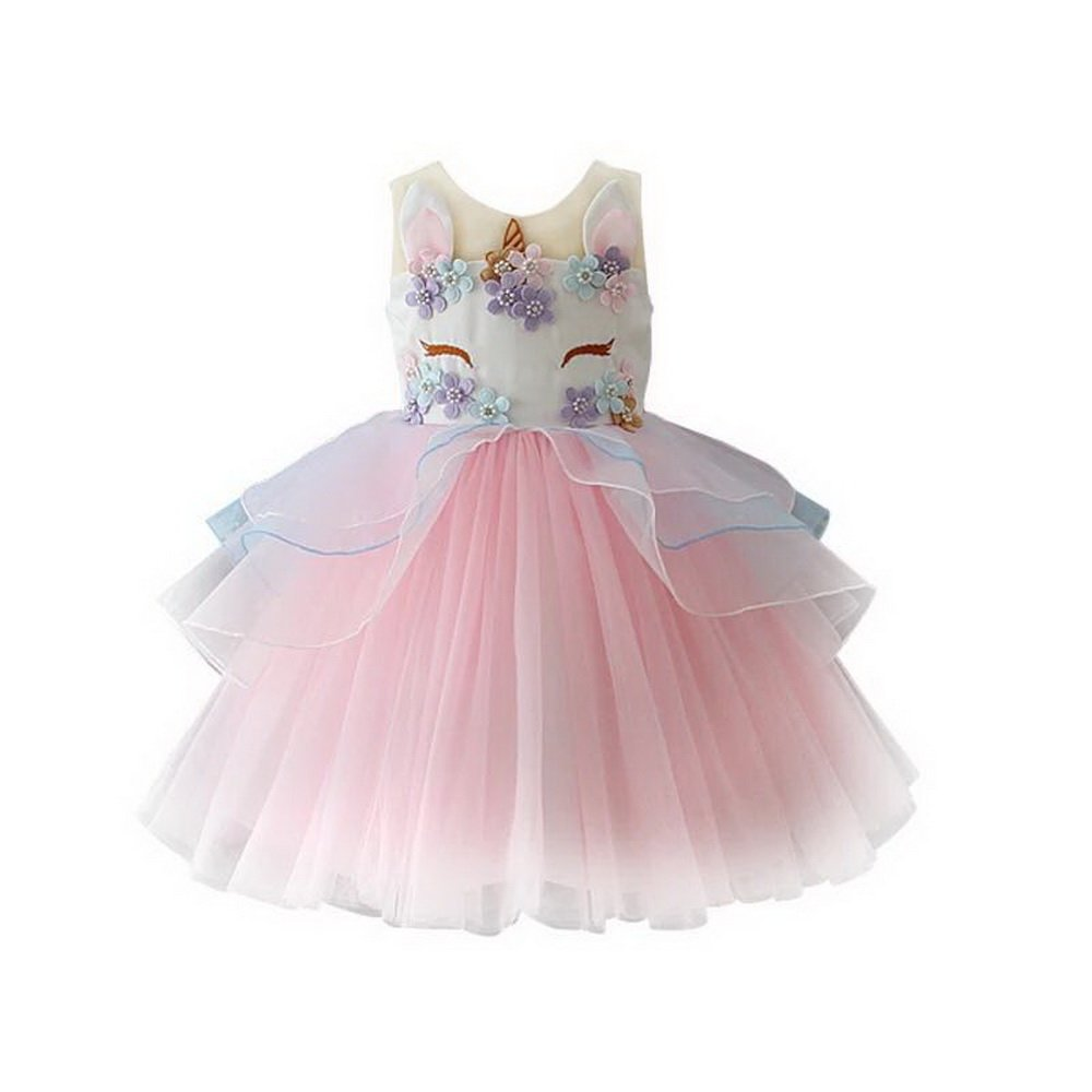 yeesn Girls Princess Unicorn Costume Tulle Tutu Dress Summer Sleeveless Costume Birthday Party Fancy up Dress (Pink, 90cm (Recommend for 2 Yrs Old))
