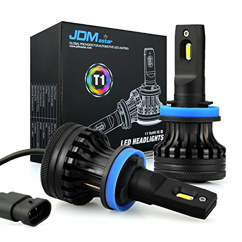 JDM ASTAR Newest Version T1 10000 Lumens Extremely Bright High Power H11 H9 H8 All-in-One LED Headlight Bulbs Conversion Kit, Xenon White ()