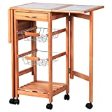 Alitop Portable Rolling Drop Leaf Kitchen Storage Island Cart Trolley Folding Table