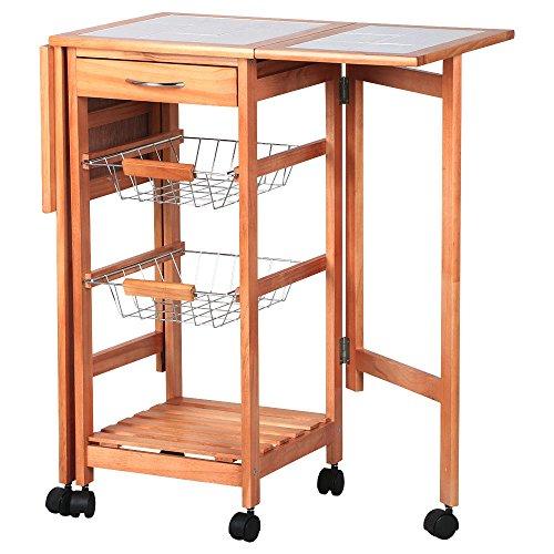 Portable Rolling Drop Leaf Kitchen Storage Island Cart Tr...