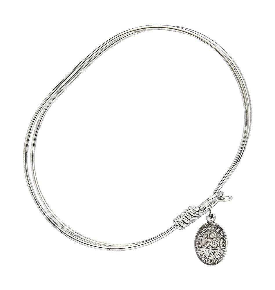 St Lidwina Of Schiedam Charm On A 7 Inch Oval Eye Hook Bangle Bracelet
