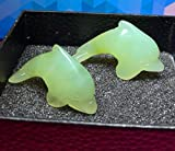 1 Pair Small Animals Hand Carved Natural Gemstone Statue Figurine Collectible 2 Pcs (New Mountain Jade Dolphin)