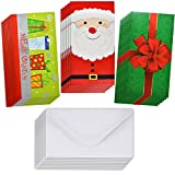 24 Christmas Gift Card Holder - Christmas Money Holder - Christmas Greeting Cards with Envelopes Bulk Assorted in 3 Holiday Cute Festive Designs with Glitter and Foil Winter Holiday Cards Box Set