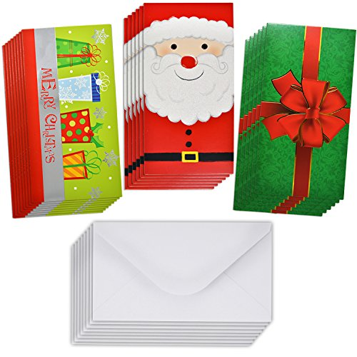 24 Christmas Gift Card Holder - Christmas Money Holder - Christmas Greeting Cards with Envelopes Bulk Assorted in 3 Holiday Cute Festive Designs with Glitter and Foil Winter Holiday Cards Box Set (Gift Cards Christmas For Envelopes)