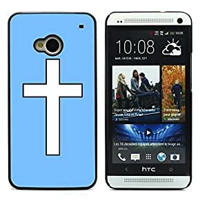 Graphic4You Cross Design Hard Case Cover for HTC One (M7) (Baby Blue)