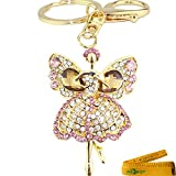Cute Bling Crystals Rhinestone Key Chain Butterfly Dancing Girl Dancer Keyring Handbag Charm (Pink)