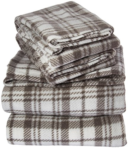 Plaid Fleece Sheet Set - True North by Sleep Philosophy Micro Fleece Grey Plaid Sheet Set, Causal Bed Sheets Full, Bed Sheets Set 4-Piece Include Flat Sheet, Fitted Sheet & 2 Pillowcases