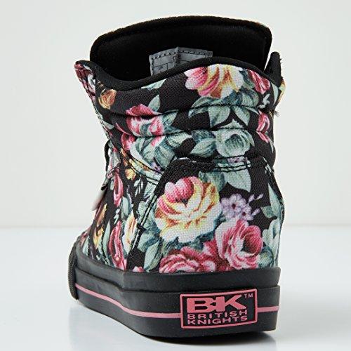 Femmes Rose Noir Baskets Knights Montante fleur British Dee xE0n8
