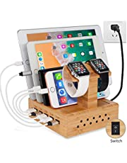 Yisen Handy Wood Bamboo Multi Device Smartphone Charging Station 5-Port USB Charging Dock DIY Assemble Organizer Holder for iPhone/iPad/Apple iWatch/Cellphone/Tablets/E-reader/Power Bank