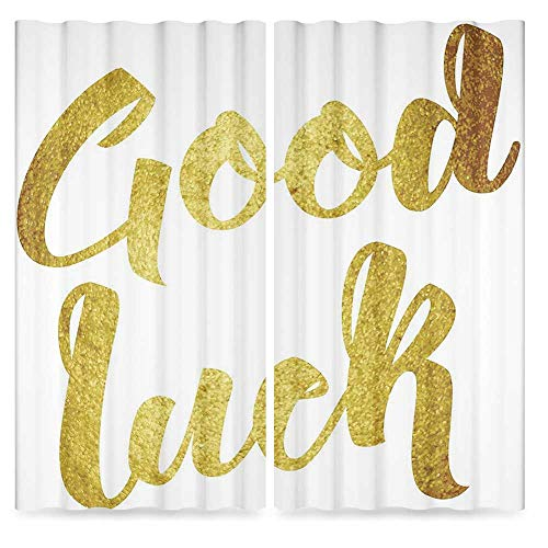 - Going Away Party Decorations Blackout Window Curtain,Good Luck Wish Note Hand Written Lettering Greeting Card Concept,Window Drapes 2 Panel Set for Living Room Bedroom, 2 Panel Set,103W X 72L Inches