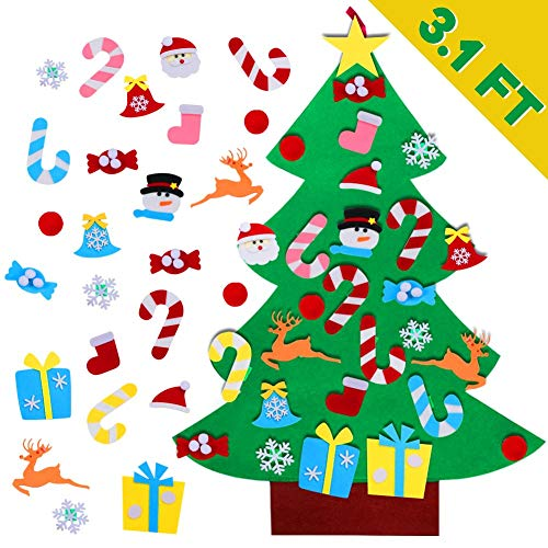 AerWo DIY Felt Christmas Tree Set + 26pcs Detachable Ornaments, Kids Wall Hanging Xmas Gifts for Christmas Decorations (Make Decorations To Christmas Easy)