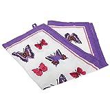 Butterfly Design 100% Cotton Tea Towel (One Size) (Purple/White/Fuchsia)