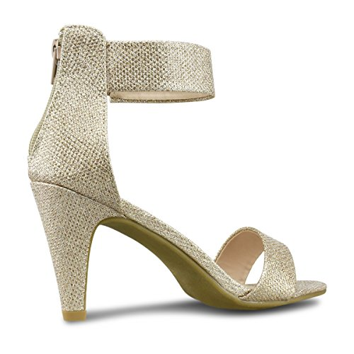 Strap Ankle Heel Premier Essential Champagne Heel Kitten Toe Mid Dress Sandal Standard Low Open Women's ItqwS4