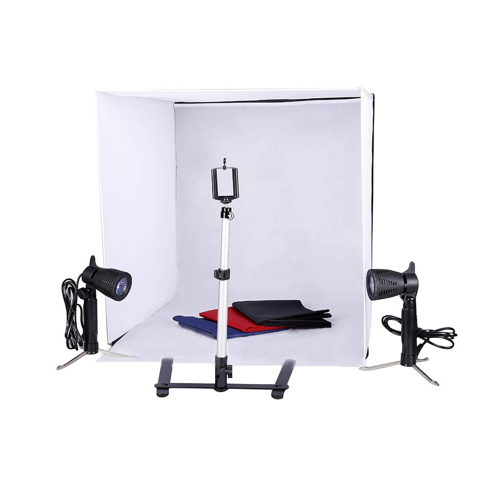 Kshioe Studio Light Tent Kit, Table Top Photography Lighting Box with Tripod Stand Phone Clip Holder and Backdrops (24in24in) by Kshioe