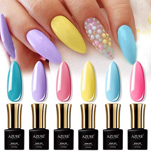 AZUREBEAUTY Gel Nail Polish Set - 6PCS Sweet Candy Neon Colors Nail Art Gift Box, Soak Off UV LED Manicure Bright Color Starter Kit 0.24 OZ (Color Gel Nail)