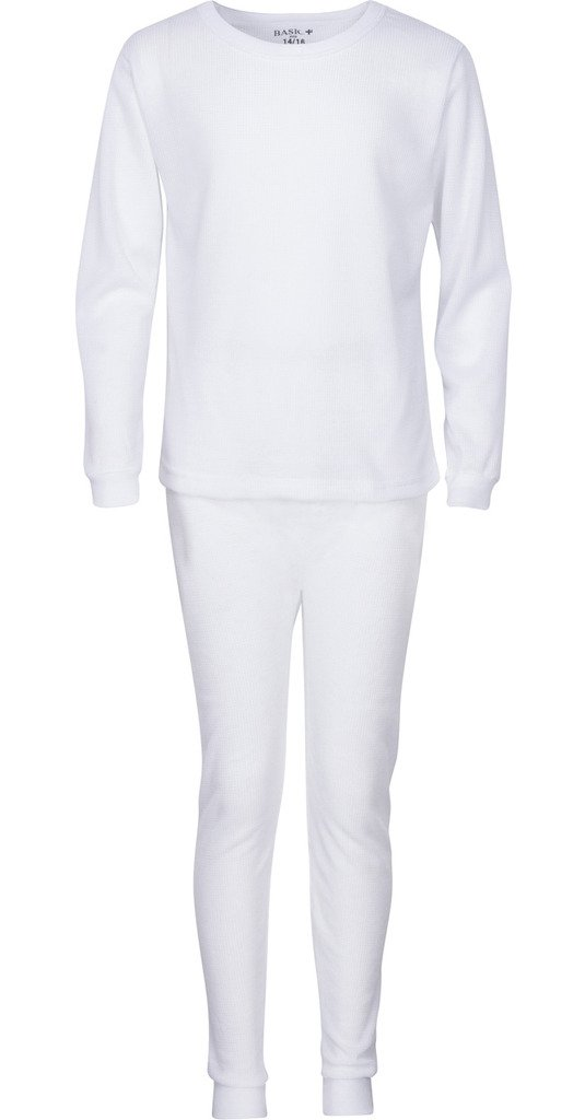 Premium Boys Thermal Underwear Set – Waffle Knit – Warm & High Moisture Wicking 10/12 White