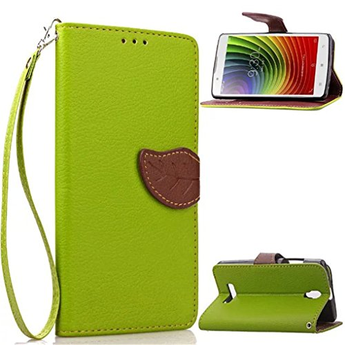 Lenovo A2010 Case,LYO[Kickstand Feature] Leaves Luxury Wallet PU Leather Folio Wallet Flip Case Cover Built-in Card Slots for Lenovo A2010 4.5