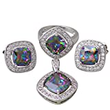 Rainbow Mystic Topaz 925 Sterling Silver Overlay Pendants/Ring/Earrings fashion Jewelry Set size 6 7 8 9 S265 (size 9)