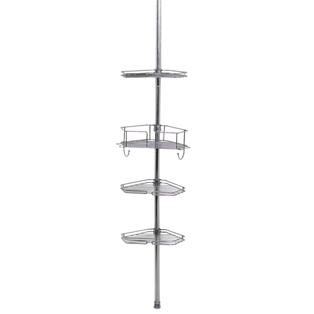 Zenna Home 2190SS, Tension Corner Pole Caddy, Chrome