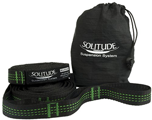 Hammock Straps by Solitude | Heavy Duty Hammock Tree Straps | Full Customer Warranty Included | Extra Long Lightweight Suspension Kit | 100% Polyester No-Stretch | Adjustable Strap Suspension System