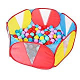 Truedays Kids Ball Pit Playpen for Toddlers, 39.4 inch with Storage Bag, Red Blue,No Balls