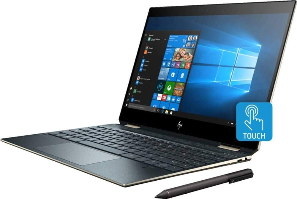 "2019_HP 2-in-1 Spectre x360 13.3"" FHD Touchscreen Laptop,360° flip-and-fold, Intel i7-8565U CPU,16GB RAM,512GB SSD, Webcam, Backlit Keyboard, Fingerprint Reader, Thunderbolt, Window 10 (Pen Included)"